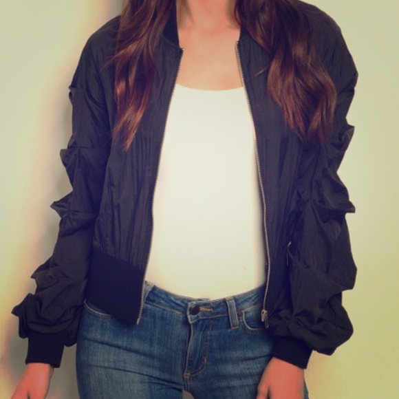 Top Chic Jackets & Blazers - Black Pleated Sleeve Windbreak Bomber Jacket